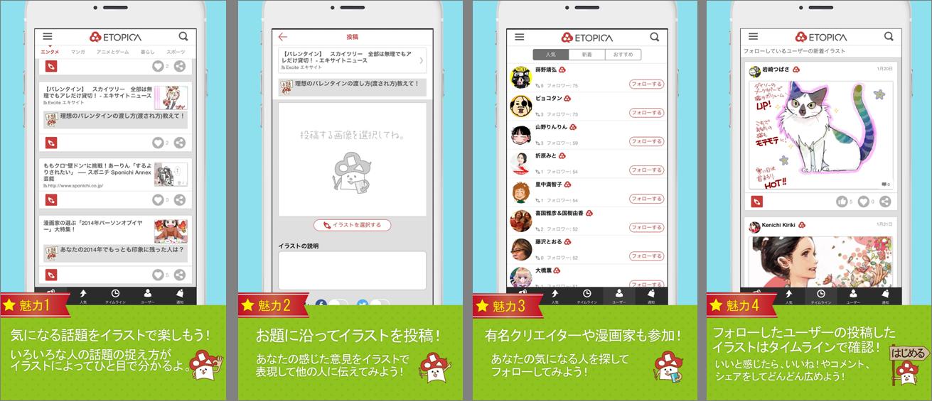 iPhone用SNSアプリケーション「ETOPICA」をリリース ~世の中の話題をイラスト・写真に~